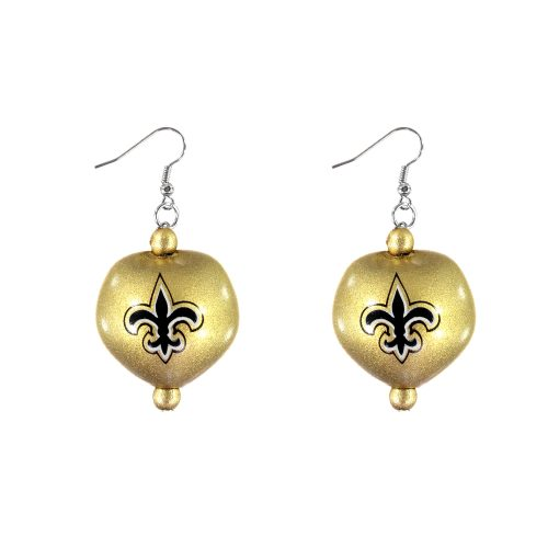 New Orleans Saints Kukui Nut Earrings